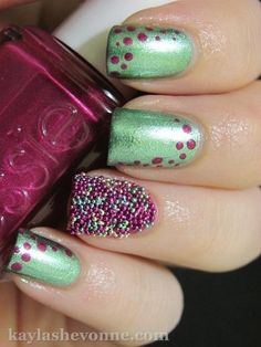 """Have you all heard of the new emerging nail art trend called """"The Caviar Manicure""""? Get Nails, Love Nails, Hair And Nails, Creative Nail Designs, Creative Nails, Caviar Manicure, Essie Colors, Nail Time, Nail Accessories"""