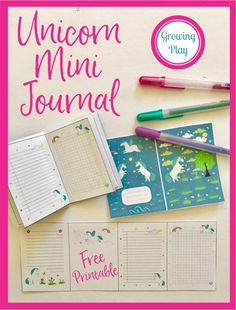 Unicorn Mini Journal - Free Printable Oh, how I love mini journals, mini notebooks or any mini paper. Download your free copy from GrowingPlay.