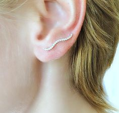 Silver wavy diamond ear pins sterling silver or by laplumeblanche