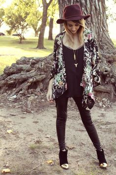 cool hat and dark floral  kimono top