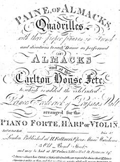 James Paine of Almack's. James Paine was a band leader, Quadrille publisher, and music seller, of the Regency era. He is best known as having been an orchestra leader at Almack's Assembly Rooms, and for publishing his various sets of Quadrilles. His First Set of Quadrilles remain known to this day.