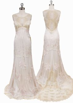 Rose and champagne embroidery with gold chantilly lace lined in platinum silk with sheer back.From the Still Life Couture Bridal Gown Collection ONLY SIZE 10...