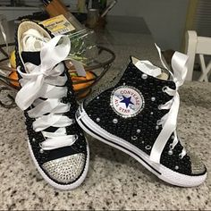 7e6bbc9a4934d3 Kids Red White Clear Rhinestone Bling All Star Chuck Taylors Sneakers Low- Top