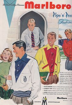 vintage mens fashion ads | mens college fashion ad 1951 smart fashions for the bmoc 1950 s style ...