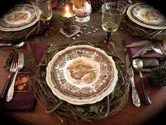 Nancy's Daily Dish: Brown and Augergine Fall Tablescape ~ Will work with Spode Woodland; note grapevine wreath for placemat