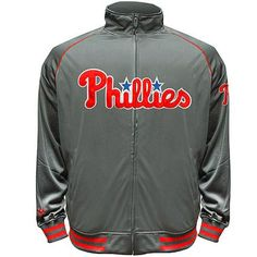 Philadelphia Phillies Majestic Big & Tall Team Logo Track Jacket - Charcoal - $50.99