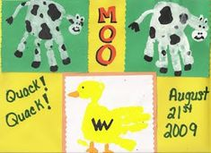 Handprint Cow & Duck farm animal crafts for kids