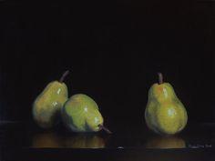 Pears, Julie Cane. 30x40cm, Oil on Canvas, $700
