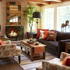 Room Decorated For Autumn - love the tree fireplace cover - like the tree of life Fall Living Room, Bohemian Living Rooms, Living Room Decor Cozy, Elegant Living Room, Simple Living, Modern Living, Cozy Room, Cottage Living, Small Room Design