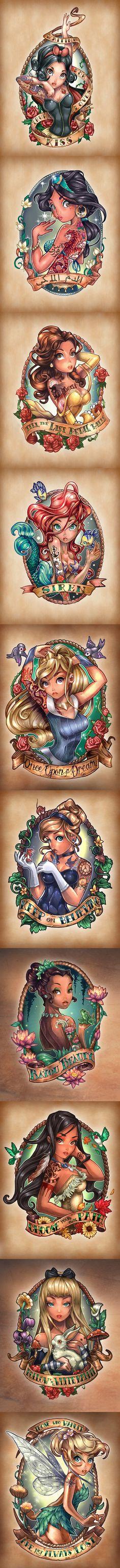 Disney Princesses as Tattooed Pinup Girls! ( + Alice and Tinkerbell ) 8 Disney Princesses as Tattooed Pinup Girls! ( + Alice and Tinkerbell Disney Princesses as Tattooed Pinup Girls! ( + Alice and Tinkerbell ) Disney Pin Up, Disney Art, Disney Girls, Alice Disney, Funny Disney, Disney Tattoos, Tattoo Und Piercing, Princesa Disney, Trendy Tattoos