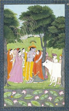 Shri Krishna in Vrndabana with Radha and the other gopis.