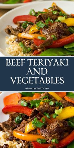 This beef teriyaki and vegetables is really delicious! We sliced a lean sirloin steak into thin strips (chicken can also be used if you prefer), and created a stir-fry of carrots, snow peas, mushrooms and sliced sweet bell pepper that was flavored with sc Meat Recipes, Asian Recipes, Dinner Recipes, Cooking Recipes, Healthy Recipes, Chinese Beef Recipes, Recipies, Healthy Nutrition, Drink Recipes