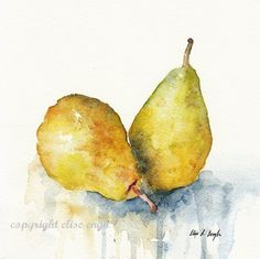 Original Watercolor Pears Still Life by GrowCreative on Etsy