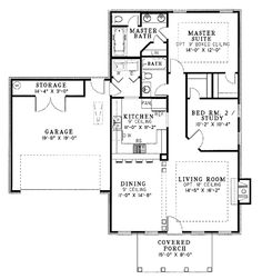 Traditional Country Home Design - floor plan - Main Level Garage House Plans, House Plans One Story, Tiny House Plans, House Floor Plans, Small House Plans Under 1000 Sq Ft, Story House, Car Garage, French Country House Plans, Country House Design