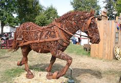 Iron Horse - Created entirely from scrap metal, this horse was on display at the 2005 Oregon State Fair. The closeup of its head is hugely p[popular.