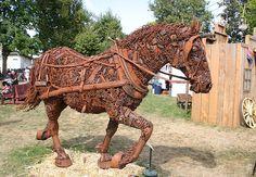 Scrap metal horse. Incredible!