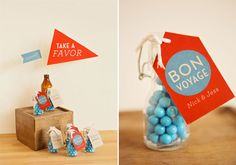 """Congratulating a college grad on the next chapter of their life? Celebrating someone making a big move? Maybe your bestie is traveling abroad for the Summer. Wherever friends and family are headed, say """"Bon Voyage"""" with a bright blue and red party! www.bride2be.theaspenshops.com"""