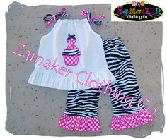 Girl Birthday Outfit Set  Zebra Outfit  Baby by ZamakerrClothingCo, $45.99