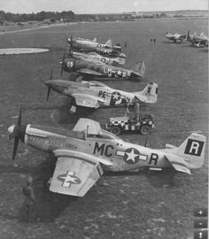Gathering of 8th Air Force Fighter Group Commanders on 31 Aug 1944 - flying 3 types of fighters: P-51 Mustangs, P-47 Thunderbolts & a P-38 Lightning.