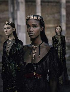 VALENTINO (Haute Couture Fall/ Winter 2015-16) - model: Leila Nda, Sofia Tesmenitskaya, Grace Simmons & Yana Van Ginneken - photographer: Fabrizio Ferri - Vogue Italia September 2015                                                                                                                                                                                 More