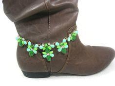 Green Flower Boot Jewelry Boot Bracelet Boot Cuff by Cynhumphrey