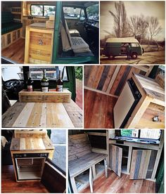 I just finished restoring my old VW T2 High Roof with recycled pallets! Je viens de finir l'aménagement de mon …