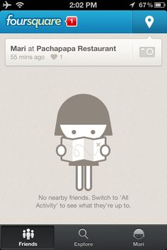 foursquare, Mobile Patterns - Empty Data Sets  #ux #emtpy #states