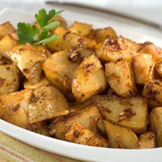 Lipton Onion Roasted Potatoes - I use small yellow potatoes (100 calories each) and just a dash of olive oil. This is perfect since I'm only cooking for two - perfect portion control!