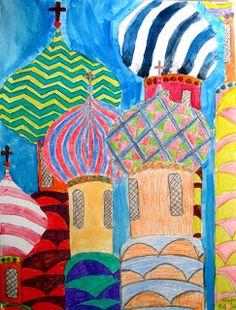 Afbeeldingsresultaat voor russian art for kids Art Auction Projects, Classroom Art Projects, Art Classroom, Art Lessons For Kids, Art Lessons Elementary, Art For Kids, 8th Grade Art, Jr Art, Shape Art
