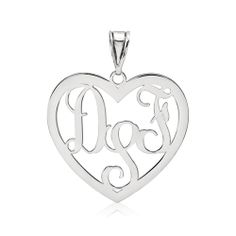 Heart Script Monogram Pendant, customizable with your choice of initials or as a Family Pendant with the initials of family members. Available in sterling silver with or without 14K gold-plating, as well as 10K or 14K yellow or white gold. Size: 29mm length, 32mm width. Order Ref# QG-XNA496.