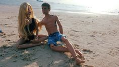 Barbie and ken by the beach. Dolls of the world UK rebodied to purle top made to move barbie wearing OOAK swimsuit Four Divergent Ken doll wearing mattel shorts