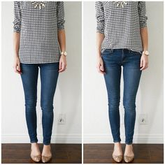 The Asymmetrical Tuck Blouse. Blouses are great for half-tucking too, since they are often thin and can easily fall flat without a little bit of dimension-adding help. Again, the half-tuck opens up the full line of my leg and makes a straight-hemmed blouse a little more visually interesting.
