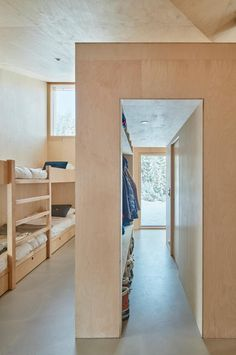 There's no place like hytte for a family in the woods of Norway, where they live in a tiny yet hyper-efficient cabin. See more in No Place Like 'Hytte': A Tiny Cabin in the Norwegian Woods. Photograph by Bruce Damonte, courtesy of Mork-Ulnes Architects. Plywood Interior, Patio Interior, Interior And Exterior, Plywood Furniture, Modern Furniture, Furniture Design, Chalet Design, House Design, Design Design