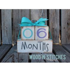 Baby maternity kid photo prop age shower blocks gift hand painted wood blocks countdown personalized unique fun