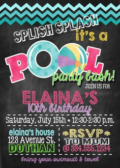 Invitación del cumpleaños del partido de la piscina