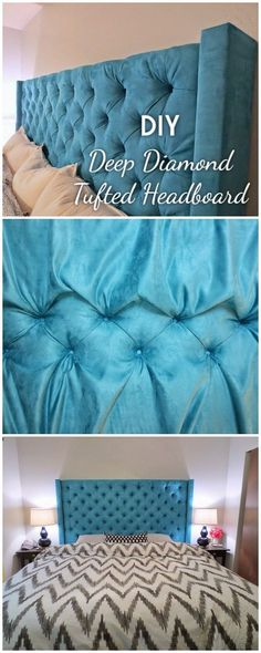Check out this tutorial on how to make a #DIY deep diamond tufted headboard. Looks easy enough! #BedroomIdeas #HomeDecorIdeas @istandarddesign