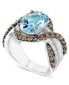 Le Vian 14k White Gold Ring, Aquamarine (3-3/4 ct. t.w.) and White and Chocolate Diamond (1/8 ct. t.w.) Ring