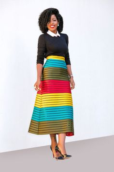 Style Pantry | Collared Crew Neck + Color Block Midi Skirt
