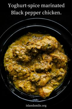 Black pepper chicken marinated in Yoghurt-spice. a fragrant chicken curry dish with a deeply satisfying gravy so thick , a second serve is a must. South Indian Chicken Recipes, South Indian Food, Indian Food Recipes, Veg Recipes, Curry Recipes, Vegetarian Recipes, Cooking Recipes, Chicken Masala Curry, Kerala Chicken Curry