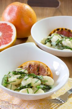 Spring Gnocchi Recipe with Grilled Asparagus and Grapefruit | ASpicyPerspective.com #pasta #delallo #grilled