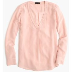 J.Crew Silk Drapey V-Neck Blouse (2 020 ZAR) ❤ liked on Polyvore featuring tops, blouses, v-neck tops, button blouse, v neck blouse, v neck silk blouse and long sleeve v neck top