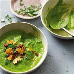 Green soup with chorizo almond crumble