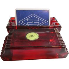 Heisey Glass National Museum Commemorative Card Box - Red from Just Plain Bliss Exclusively on Ruby Lane