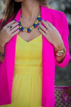Cool way to wear neons. Neon yellow sundress. Hot pink blazer. Morrell's Armoire Fashion Blog.