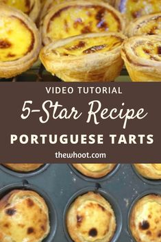 You will love to learn how to make these popular Homemade Portuguese Custard Tarts. Be sure to watch the video tutorial now. We recently discovered Portuguese Custard Tarts and we couldn't resist sharing a recipe to Portuguese Custard Tart Recipe, Portuguese Egg Tart, Portuguese Desserts, Portuguese Recipes, Portugese Custard Tarts, Portuguese Malasadas Recipe, Egg Custard Tart Recipe, Egg Custard Recipes, Pastry Recipes