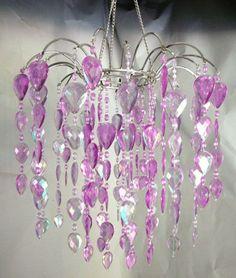 """Amazon.com - 12"""" Faux Crystal Like Waterfall Chandelier - Purple - Kids Chandelier"""