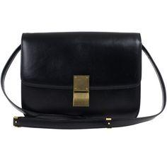 Celine Black Leather Medium Box Shoulder Bag ❤ liked on Polyvore