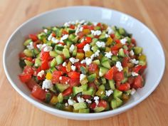 A Mediterranean twist on classic Israeli salad with sweet bell peppers and mint, topped with feta cheese and dressed with olive oil, lemon, and cinnamon. Healthy Side Dishes, Healthy Foods To Eat, Healthy Eating, Healthy Sides, Israeli Salad, Israeli Food, Israeli Recipes, Kosher Recipes, Cooking Recipes