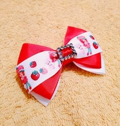 New add to our shop! Beautiful! Printed Ribbon, Strawberry Shortcake, Her Hair, Ponytail, Hair Bows, Hair Clips, Love Her, Little Girls, Sparkle