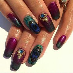 24 wunderschöne Pfau Nail Art Designs 2019 - Wedding Makeup For Fair Skin Peacock Nail Designs, Peacock Nail Art, Feather Nail Art, Nail Art Designs, Nails Design, Hair And Nails, My Nails, Gold Nails, Nail Disorders